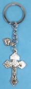 KEY CHAINS Silver Finish PARDON CRUCIFIX WITH Heart on STAINLESS STEEL LOOP/CHAIN 5""""