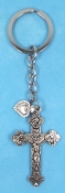 KEY CHAINS Silver Finish HOLY TRINITY WITH Heart on STAINLESS STEEL LOOP/CHAIN 5""""