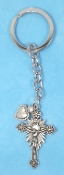 KEY CHAINS Silver Finish Crucifix AND Heart on STAINLESS STEEL LOOP/CHAIN 5""""