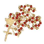 "Premium Stainless Steel Rosary Red/Gold Beads Gold Finish 24""..Stainless Steel is more durable. It's corrosion-resistant, scratch-resistant, and tarnish resistant."