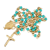 "Premium Stainless Steel Rosary Turquoise/Gold Tone Beads Gold Finish 24""..Stainless Steel is more durable. It's corrosion-resistant, scratch-resistant, and tarnish resistant."