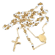 "Premium Stainless Steel Rosary White/Gold Beads Gold Finish 24""..Stainless Steel is more durable. It's corrosion-resistant, scratch-resistant, and tarnish resistant."