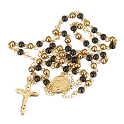 "Premium Stainless Steel Rosary Black/Gold Beads Gold Finish 24""..Stainless Steel is more durable. It's corrosion-resistant, scratch-resistant, and tarnish resistant."