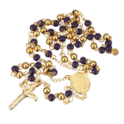 "Premium Stainless Steel Rosary Purple/Gold Beads Gold Finish 24""..Stainless Steel is more durable. It's corrosion-resistant, scratch-resistant, and tarnish resistant."