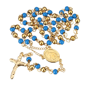 "Premium Stainless Steel Rosary Sky Blue/Gold Beads Gold Finish 24""..Stainless Steel is more durable. It's corrosion-resistant, scratch-resistant, and tarnish resistant."
