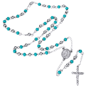 "Premium Stainless Steel Rosary Turquoise/Silver Tone Beads Silver Finish 24""..Stainless Steel is more durable. It's corrosion-resistant, scratch-resistant, and tarnish resistant."