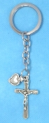 CATHOLIC KEY CHAINS Deluxe Crucifix CROSS Heart on STAINLESS STEEL LOOP/CHAIN 4 5/8""