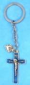 CATHOLIC KEY CHAINS Deluxe BLUE Crucifix CROSS Heart on STAINLESS STEEL LOOP/CHAIN 5""