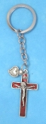 CATHOLIC KEY CHAINS Deluxe RED Crucifix CROSS Heart on STAINLESS STEEL LOOP/CHAIN 5""