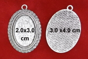 Nickel, Lead & Cadmium FREE DIY JEWELRY BLANKS PENDANT TRAY Large Oval Antique Silver Antique Silver Finish For Cameo Glass Cabochon Setting Bezel Blank Pendant Base Tray DIY Jewelry Making