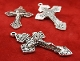 "5/Pc RETRO ANTIQUE SILVER Finish Pardon Crucifix INDULGENCE 2"" Cross 2"" INDULGENCE CRUCIFIXES for pendants, making rosaries etc"