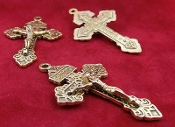 "25/Pc Exquisite OLD WORLD Finish ANTIQUED GOLD Pardon Crucifix 2"" INDULGENCE Finish Our Deluxe Pardon Crucifixes are known for the most Beautiful intricate designs- --Rosary making parts and Necklace--Sold Bulk..."