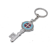 KEY CHAINS Silver Finish ST BENEDICT Key Color Enameled STAINLESS STEEL LOOP/CHAIN 4.5""