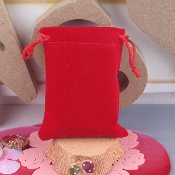 Rosary Jewelry Pouches Bag Red Velveteen with Drawstring 2.75 x 3""