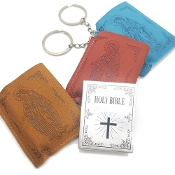 KEYCHAINS- Novelty Item Only Note: Print is Tiny. Silver Finish Lady of Grace/Love is Patient Key Chain with Tiny Holy Bible in Leather Case. Polybagged
