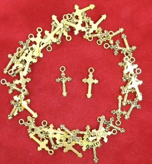 Our Deluxe Rosary Crucifixes are known for the most beautiful intricate designs Rosary parts Antique Gold Finish Crucifix Cross Small Bracelet Size Parts