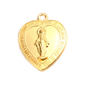 Heart Shape Miraculous Medal with Premium Bright Gold finish 1.9 x 1.7cm