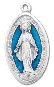 "10/Pc Large Blue Enameled Miraculous Medal 1 7/8"" Oval Italy..The Miraculous Medal, also known as the Medal of the Immaculate Conception, is a medal created by Saint Catherine Labouré in response to a request from the Blessed Virgin Mary. .."