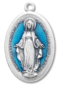 "10/Pc Large Blue Enameled Miraculous Medal 1 5/16"" Oval Italy..The Miraculous Medal, also known as the Medal of the Immaculate Conception, is a medal created by Saint Catherine Labouré in response to a request from the Blessed Virgin Mary. .."