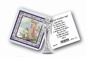 "My Catholic Pocket Statue of GUARDIAN ANGEL Holy Card Pouch..3"" x 3"" Catholic Pocket Statue with Gold Stamped Prayer Holy Card Packaged in a Clear Soft Pouch. Statue: 1 3/4"". Material: Metal Antique Silver..Imported: Italy"