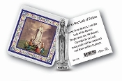 "My Catholic Pocket Statue OUR LADY OF FATIMA with Holy Card Clear Pouch...3"" x 3"" Catholic Pocket Statue with Gold Stamped Prayer Holy Card Packaged in a Clear Soft Pouch. Statue: 1 3/4"". Material: Metal Antique Silver..Imported: Italy"