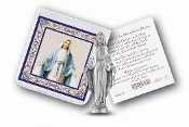 "My Catholic Pocket Statue OUR LADY OF GRACE with Holy Card Clear Pouch...3"" x 3"" Catholic Pocket Statue with Gold Stamped Prayer Holy Card Packaged in a Clear Soft Pouch. Statue: 1 3/4"". Material: Metal Antique Silver..Imported: Italy"