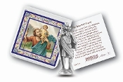 "My Catholic Pocket Statue SAINT CHRISTOPHER with Holy Card Clear Pouch...3"" x 3"" Catholic Pocket Statue with Gold Stamped Prayer Holy Card Packaged in a Clear Soft Pouch. Statue: 1 3/4"". Material: Metal Antique Silver..Imported: Italy"