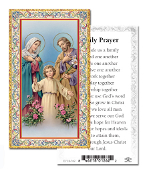"Holy Family Prayer Gold Embossed Paper HOLY CARD Italy 100/Pack 2"" x 4"" Gold Embossed Italian paper Holy Card with Prayer. Feature 3/8"" Florentine Border by Fratelli Bonella of Milan, Italy. Corresponding Prayer Printed on the Reverse Side of Card."