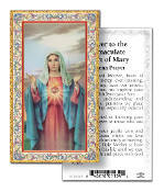 "IMMACULATE HEART OF MARY Gold Embossed Paper HOLY CARD with Prayer 100/Pack..Made In Italy 2""x4"". Feature 3/8"" Florentine Border by Fratelli Bonella of Milan, Italy. Corresponding Prayer Printed on the Reverse Side of Card."
