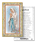 "Magnificat gold Embossed Paper HOLY CARD with Prayer 100/Pack..Made In Italy 2""x4"". Feature 3/8"" Florentine Border by Fratelli Bonella of Milan, Italy. Corresponding Prayer Printed on the Reverse Side of Card."