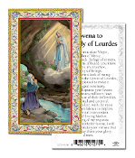"Novena to Our Lady of Lourdes Gold Embossed Paper HOLY CARD with Prayer 100/Pack..Made In Italy 2""x4"". Feature 3/8"" Florentine Border by Fratelli Bonella of Milan, Italy. Corresponding Prayer Printed on the Reverse Side of Card."