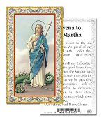 "Novena to Saint Martha Gold Embossed Paper HOLY CARD with Prayer 100/Pack..Made In Italy 2""x4"". Feature 3/8"" Florentine Border by Fratelli Bonella of Milan, Italy. Corresponding Prayer Printed on the Reverse Side of Card."