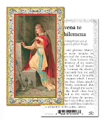 "Novena to Saint Philomena Gold Embossed Paper HOLY CARD with Prayer 100/Pack..Made In Italy 2""x4"". Feature 3/8"" Florentine Border by Fratelli Bonella of Milan, Italy. Corresponding Prayer Printed on the Reverse Side of Card."