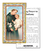 "Offering Prayer to Saint Anthony Gold Embossed Paper HOLY CARD with Prayer 100/Pack..Made In Italy 2""x4"". Feature 3/8"" Florentine Border by Fratelli Bonella of Milan, Italy. Corresponding Prayer Printed on the Reverse Side of Card."