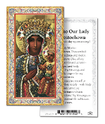 "Our Lady of Czestochowa Gold Embossed Paper HOLY CARD with Prayer 100/Pack..Made In Italy 2""x4"". Feature 3/8"" Florentine Border by Fratelli Bonella of Milan, Italy. Corresponding Prayer Printed on the Reverse Side of Card."