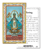 "Our Lady of San Juan Gold Embossed Paper HOLY CARD with Prayer 100/Pack..Made In Italy 2""x4"". Feature 3/8"" Florentine Border by Fratelli Bonella of Milan, Italy. Corresponding Prayer Printed on the Reverse Side of Card."