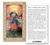"Our Lady Untier of Knots Gold Embossed Paper HOLY CARD with Prayer 100/Pack..Made In Italy 2""x4"". Feature 3/8"" Florentine Border by Fratelli Bonella of Milan, Italy. Corresponding Prayer Printed on the Reverse Side of Card."