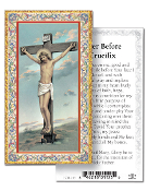 "Prayer Before a Crucifix Gold Embossed Paper HOLY CARD with Prayer 100/Pack..Made In Italy 2""x4"". Feature 3/8"" Florentine Border by Fratelli Bonella of Milan, Italy. Corresponding Prayer Printed on the Reverse Side of Card."