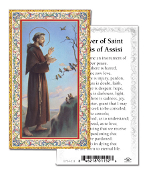 "Prayer of St Francis of Assisi Gold Embossed Paper HOLY CARD with Prayer 100/Pack..Made In Italy 2""x4"". Feature 3/8"" Florentine Border by Fratelli Bonella of Milan, Italy. Corresponding Prayer Printed on the Reverse Side of Card."