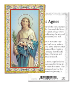 "Prayer to Saint Agnes Gold Embossed Paper HOLY CARD with Prayer 100/Pack..Made In Italy 2""x4"". Feature 3/8"" Florentine Border by Fratelli Bonella of Milan, Italy. Corresponding Prayer Printed on the Reverse Side of Card."