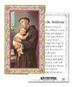 "Prayer to Saint Anthony Gold Embossed Paper HOLY CARD with Prayer 100/Pack..Made In Italy 2""x4"". Feature 3/8"" Florentine Border by Fratelli Bonella of Milan, Italy. Corresponding Prayer Printed on the Reverse Side of Card."