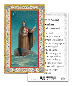 "Prayer to Saint Brendan Gold Embossed Paper HOLY CARD with Prayer 100/Pack..Made In Italy 2""x4"". Feature 3/8"" Florentine Border by Fratelli Bonella of Milan, Italy. Corresponding Prayer Printed on the Reverse Side of Card."