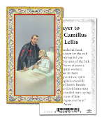 "Prayer to Saint Camillus De Lellis Holy Card with Prayer ITALY PAPER. Made In Italy 2""x4"" Gold Embossed Italian paper Holy Card with Prayer by Fratelli Bonella of Milan, Italy. Corresponding Prayer Printed on the Reverse Side of Card."