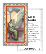 "Prayer to Saint Cecilia Holy Card with Prayer ITALY PAPER. Made In Italy 2""x4"" Gold Embossed Italian paper Holy Card with Prayer by Fratelli Bonella of Milan, Italy. Corresponding Prayer Printed on the Reverse Side of Card."