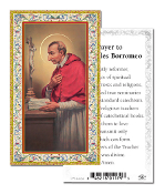 "Prayer to Saint Charles Borromeo Holy Card with Prayer ITALY PAPER. Made In Italy 2""x4"" Gold Embossed Italian paper Holy Card with Prayer by Fratelli Bonella of Milan, Italy. Corresponding Prayer Printed on the Reverse Side of Card."
