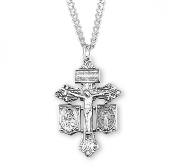 "Combination Pardon Crucifix Solid Sterling Silver 24"" Chain Boxed Hand polished and engraved by New England Silversmiths."