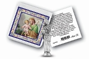 "My Catholic Pocket Statue SAINT JOSEPH with Holy Card Clear Pouch...3"" x 3"" Catholic Pocket Statue with Gold Stamped Prayer Holy Card Packaged in a Clear Soft Pouch. Statue: 1 3/4"". Material: Metal Antique Silver..Imported: Italy"