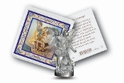 "My Catholic Pocket Statue SAINT MICHAEL with Holy Card Clear Pouch...3"" x 3"" Catholic Pocket Statue with Gold Stamped Prayer Holy Card Packaged in a Clear Soft Pouch. Statue: 1 3/4"". Material: Metal Antique Silver..Imported: Italy"