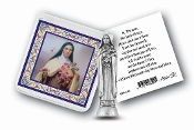 "My Catholic Pocket Statue SAINT THERESE with Holy Card Clear Pouch...3"" x 3"" Catholic Pocket Statue with Gold Stamped Prayer Holy Card Packaged in a Clear Soft Pouch. Statue: 1 3/4"". Material: Metal Antique Silver..Imported: Italy"