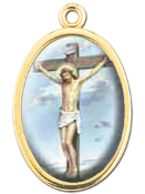 "Enameled Oval Crucifixion Picture Medal Gold Highlights...7/8"" Enameled Oval Picture Medal with Gold Highlights. (Packs of 10)"